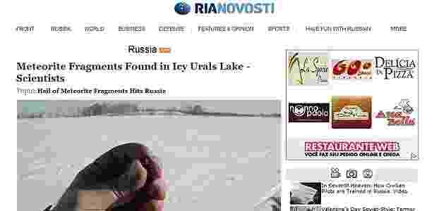 """Agência de notícias russa """"Ria Novosti"""" divulgou imagens de fragmentos do meteorito que atingiu os Montes Urais na última sexta-feira (15) - Reprodução/Ria Novosti"""