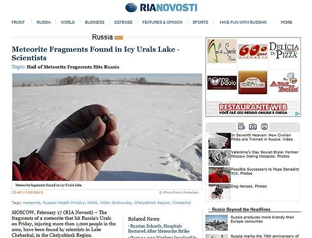 """18.fev.2013 - Agência de notícias russa """"Ria Novosti"""" divulgou imagens de fragmentos do meteorito que atingiu os Montes Urais na última sexta-feira (15). Pedaços do objeto foram encontrados em lago na Rússia, informaram cientistas russos"""