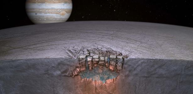 Concepção artística simula possibilidade de água em Europa - uma lua de Júpiter