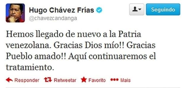 Em seu perfil no Twitter, Chávez confirmou o retorno à Venezuela - Reprodução/Twitter