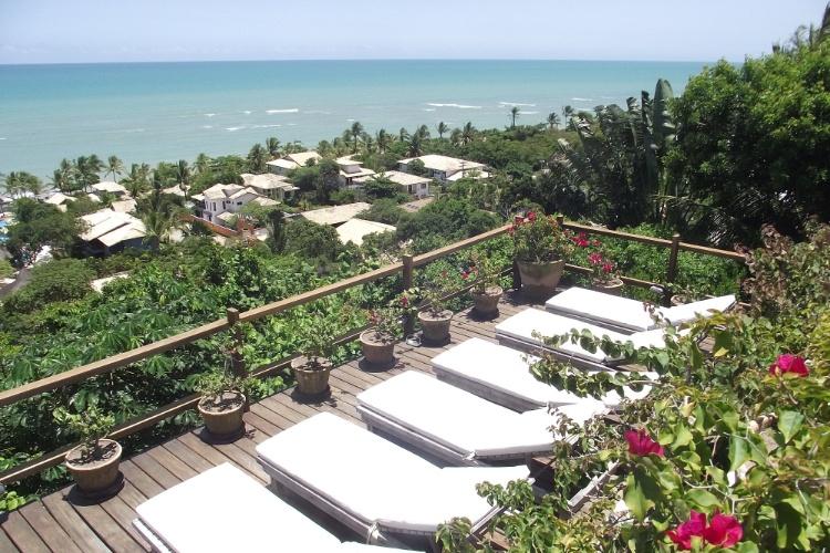 A vista da praia de Mucugê desde o terraço do Hotel Maitei, em Arraial D'Ajuda