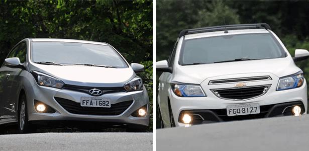 HB20 e Onix refletem atual momento do mercado: o primeiro faz a Hyundai roubar a quinta posição da Renault, enquanto o segundo é símbolo de renascimento da GM, que volta a vender modelos globais no país - Arte UOL Carros