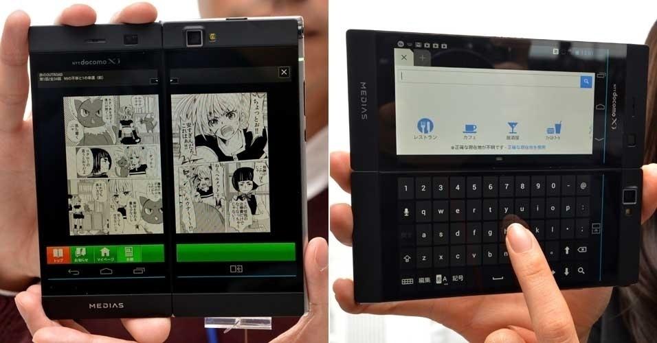 19.fev.2013 - A fabricante japonesa NEC apresentou o smartphone Medias W N-05E, com duas telas LCD. Segundo o fabricante, o aparelho fechado tem 4,3 polegadas. Aberto, ele fica com 5,6 polegadas (ele fica um pouco atrás do maior smartphone do mundo, o Ascend Mate da Huawei, com tela de 6,1 polegadas). A novidade roda sistema operacional Android e permite utilizar simultaneamente as duas telas para tarefas diferentes. Não há informações sobre preço e data de lançamento