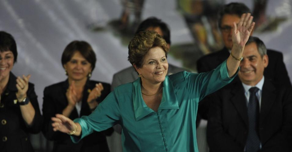 19.fev.2013 - A presidente Dilma Rousseff participa nesta terça-feira (19) do 1º Encontro Nacional do Movimento de Mulheres Camponesas do Brasil, em Brasília (DF)