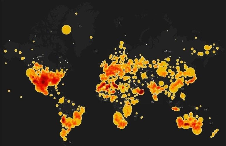 19.fev.2013- Usando o banco de dados da Sociedade Meteorológica Internacional, o jornal inglês The Guardian criou um mapa interativo que mostra 34.513 pontos onde caíram meteoritos no mundo desde 2.300 aC. Só no Brasil são 73 casos registrados