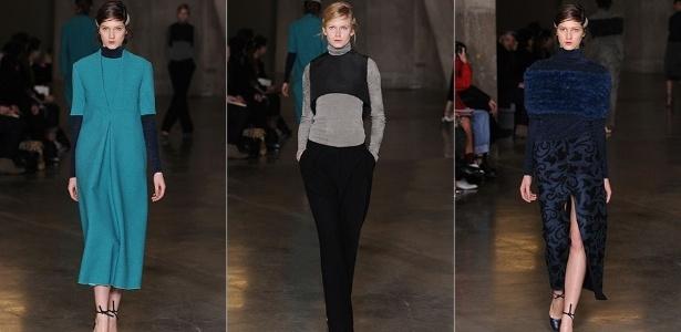 Modelos mostram looks de Lucas Nascimento para o Inverno 2013 durante a semana de moda de Londres (19/02/2013) - Getty Images