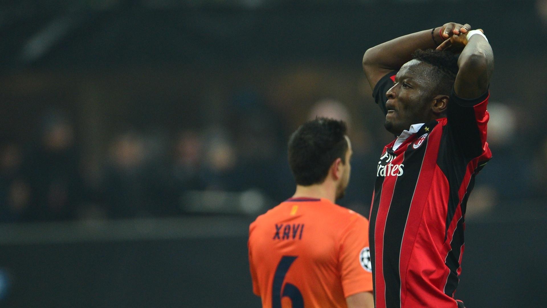 20.fev.2013 - Muntari vibra após marcar segundo gol do Milan contra o Barcelona