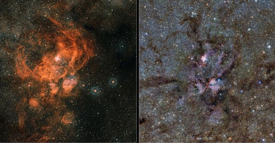 20.fev.2013 - Nova imagem em infravermelho da Nebulosa da Lagosta mostra as nuvens brilhantes de gás e os filamentos de poeira escura ao redor de estrelas azuis e quentes que nascem nessa região da Constelação do Escorpião, a 8.000 anos-luz da Terra - esses detalhes não podem ser vistos no campo visível (à direita). Os dados infravermelhos da NGC 6357 (à esquerda) foram obtidos pelo telescópio Vista, do Observatório Europeu do Sul (ESO, na sigla em inglês), instrumento que mapeia a Via Láctea para determinar sua estrutura e explicar sua formação
