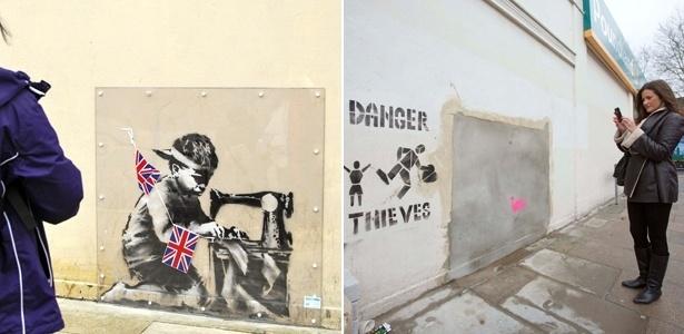 Grafite atribuído a Banksy é retirado de muro de Londres para ser leiolado em Miami - EFE/Reuters