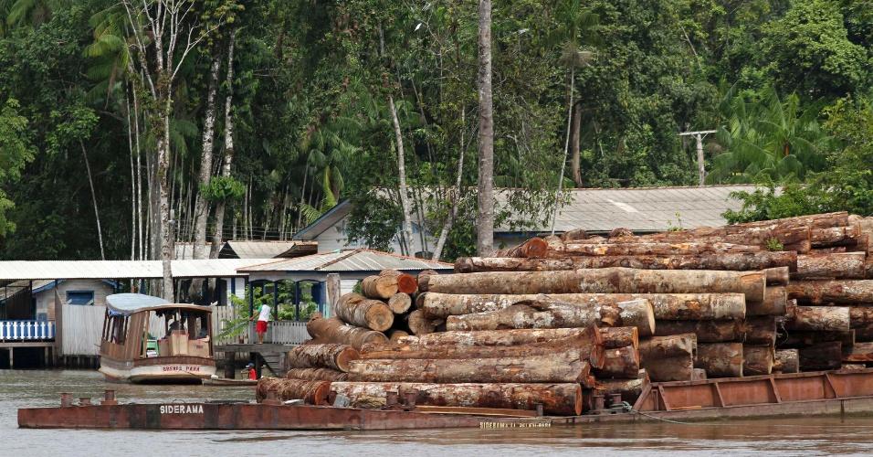 nov.2012 - Troncos de árvores retirados da floresta Amazônia são levados por barcos perto da Ilha de Marajó, no Pará