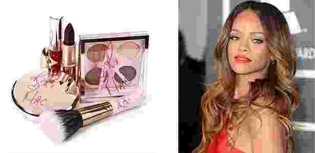 Os produtos da linha RiRi loves MAC e a cantora em recente passagem pelo Grammy. - Reprodução/Getty Images