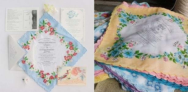 Convite de casamento em lenço da loja norte-americana Lucky Luxe Correspondence - Divulgação/Lucky Luxe Correspondence
