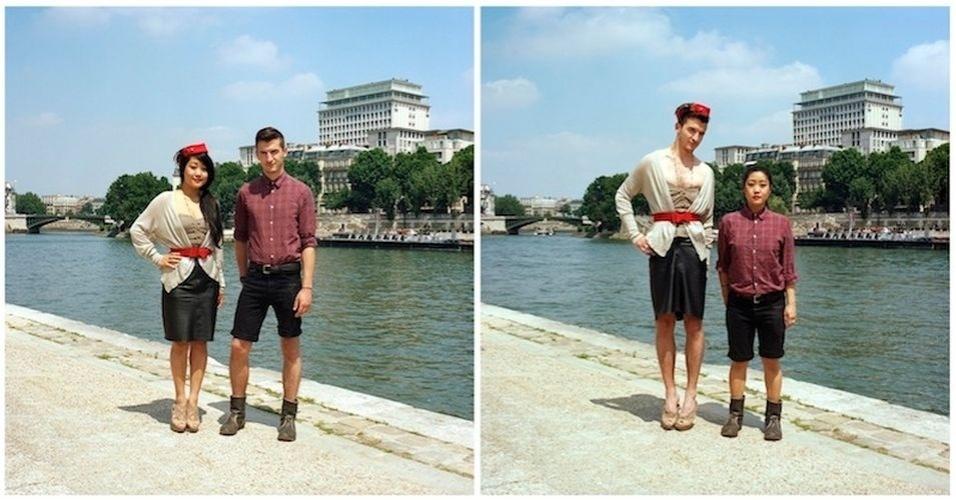 """O Tumblr """"Sincerely Hana"""" publica imagens de casais com roupas trocas. Primeiro, o homem e a mulher estão vestindo roupas tradicionais. Em seguida, o casal inverte as vestimentas e posa para fotos"""
