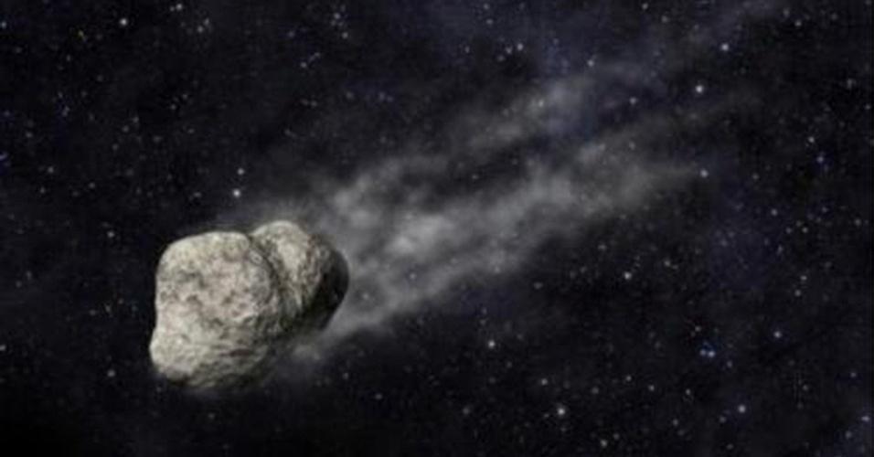 """22.fev.2013 - Cientistas identificaram ao menos dez asteroides raros que ganharam uma """"cauda"""" de poeira e, possivelmente, gás - fenômeno observado apenas nos cometas - durante meses. Com o telescópio Gran Canarias, na Espanha, os pesquisadores observaram o asteroide P/2012 F5 (ilustração acima) e descobriram, após determinar sua trajetória, que um  evento ocorrido em julho de 2011 pode explicar seu rastro: as partículas são resultado de uma colisão com outro asteroide ou de uma ruptura causada pela rápida rotação do objeto"""