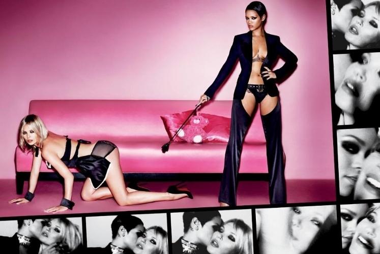 """22.fev.2013 - Imagem de ensaio fotográfico da revista """"V Magazine"""" com a cantora Rihanna e a modelo Kate Moss"""
