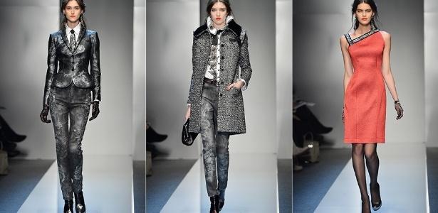 A coleção da Roccobarocco se caracterizou pelo uso frequente do cinza, como no look desfilado pela brasileira Daiane Conterato (esq.) - Getty Images