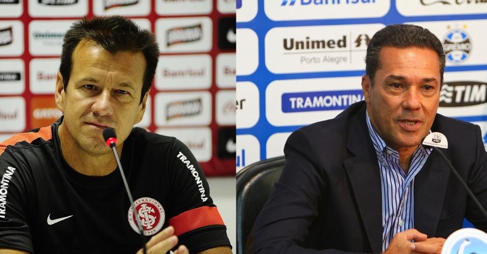 Montagem 615x300 dos técnicos Dunga, do Inter, e Vanderlei Luxemburgo, do Grêmio (Arquivo)