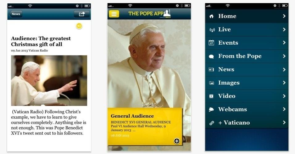"""O aplicativo """"The Pope App"""", gratuito para iPhone, permite que o usuário receba notícias em tempo real do que está acontece com o papa. O app emite alertas quando os eventos envolvendo o papa começam, exibe fotos e outras informações"""