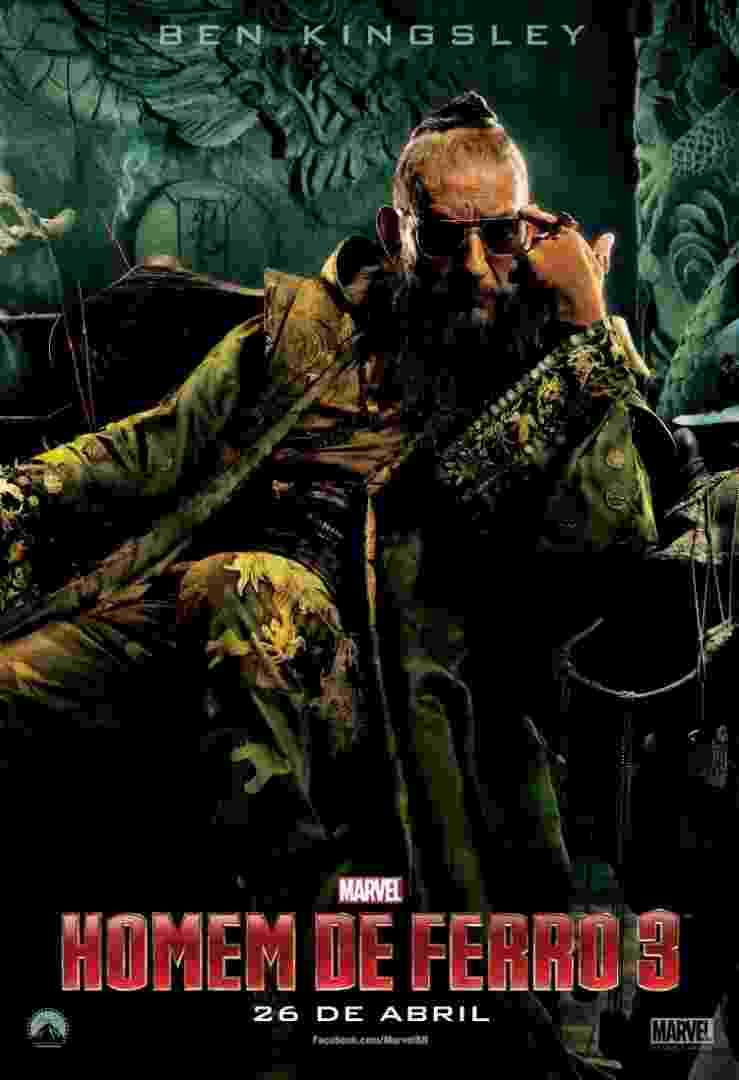 """O ator Ben Kingsley aparece como o vilão Mandarim em novo pôster de """"Homem de Ferro 3"""", que estreia no Brasil em 26 de abril de 2013 - Divulgação"""