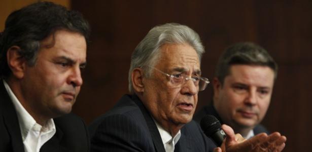 Encontro do PSDB em Belo Horizonte tem a presença do senador Aécio Neves, do ex-presidente Fernando Henrique Cardoso, e do governador de Minas Gerais, Antônio Anastasia - Rodrigo Lima/O Tempo/Estadão Conteúdo