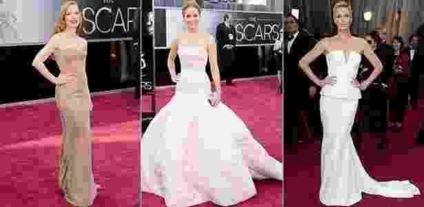 As atrizes Jessica Chastain, Jennifer Lawrence e Charlize Theron estão na lista de mais bem vestidas do Oscar segundo o estilista de moda festa Arthur Caliman - Getty Images