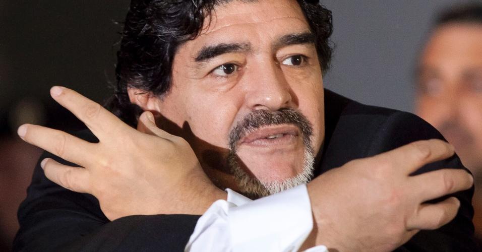 26.fev.2013 - Maradona falou sobre seu desejo de treinar o Napoli, clube do qual se tornou ídolo