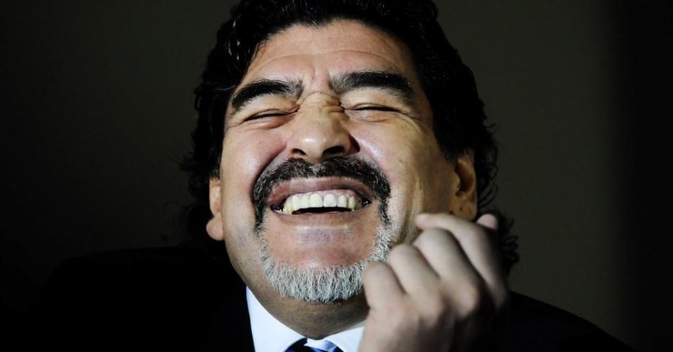 26.fev.2013 - Maradona relembrou sua passagem pelo Napoli e declarou ser inocente das acusações de sonegação fiscal