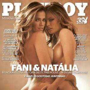 As ex-BBBs Fani Pacheco (à esq.) e Natália Cassasola, participantes do BBB7 e BBB8 respectivamente, fizeram juntas um ensaio sensual para a edição de novembro de 2010 da