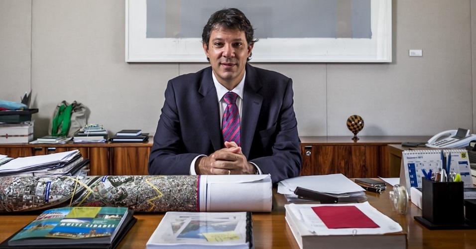 26.fev.2013 - O prefeito de São Paulo, Fernando Haddad (PT), concede entrevista exclusiva ao UOL