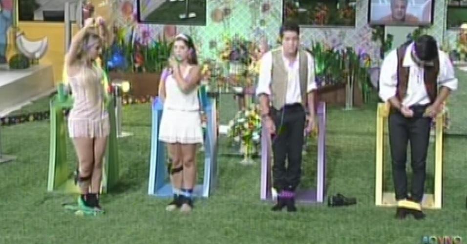 27.fev.2013 - Fernanda, Andressa, Nasser e Marcello são vetados por Fani e disputam prova