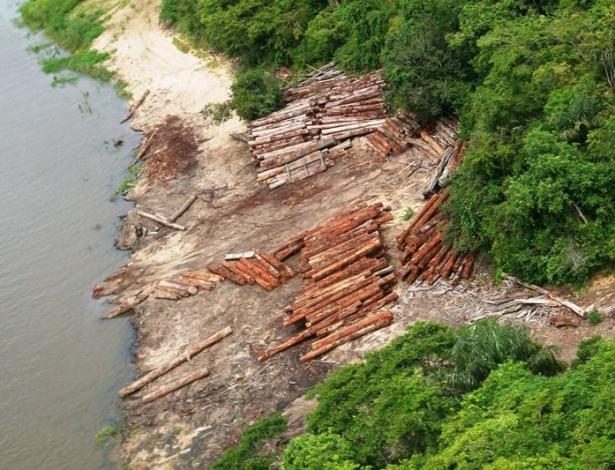 27.fev.2013 - O Ibama (Instituto Brasileiro do Meio Ambiente e dos Recursos Naturais Renováveis) apreendeu cerca de oito mil metros cúbicos de madeira ilegal (o equivalente a 320 caminhões cheios) e desativou cinco portos clandestinos de embarque de toras ao longo dos rios Curuatinga e Curuá-Una, a 170 km de Santarém, no oeste do Pará