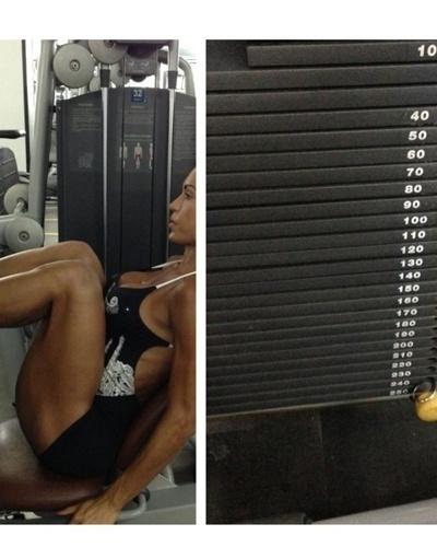27.fev.2013 - Para as coxas e os glúteos, Gracyanne Barbosa faz 5 séries com 8 repetições no leg press sentado. A imagem mostra que a morena