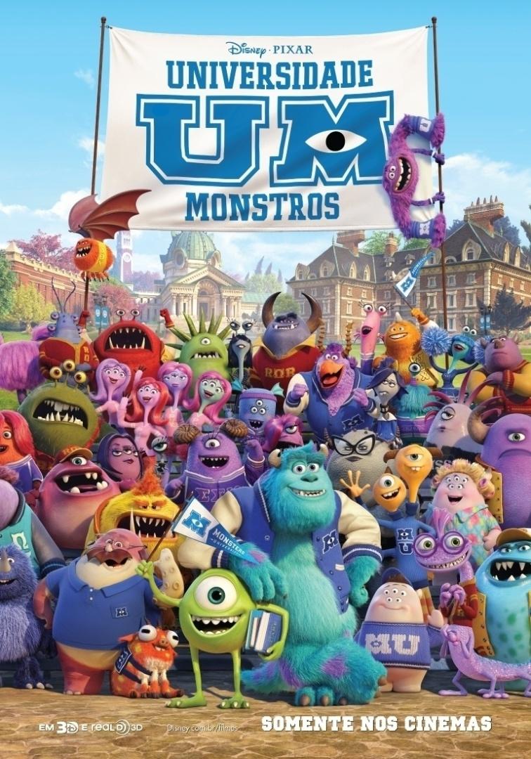 """Pôster brasileiro da animação """"Universidade Monstros"""""""