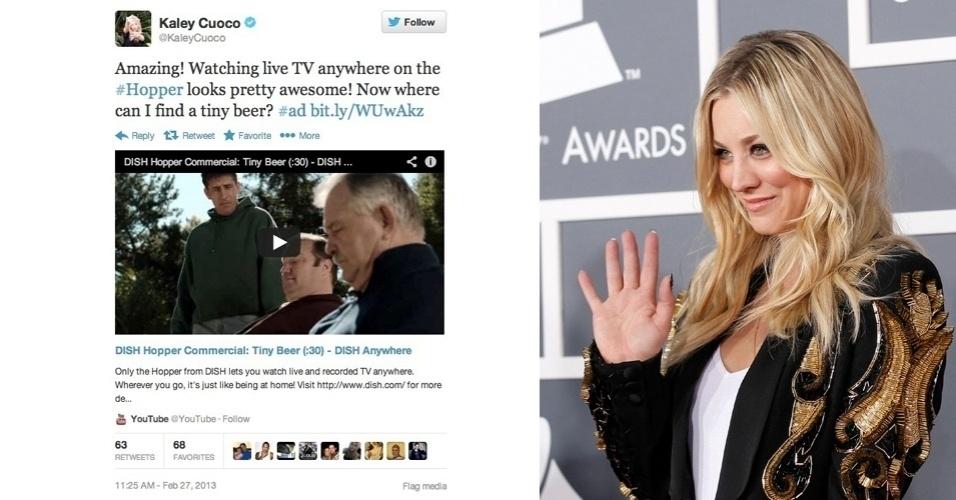 28.fev.2013 - A atriz Kaley Cuoco, que interpreta Penny no seriado ''Big Bang Theory'', teve de deletar um tuíte pago que enviou para seus mais de 1,2 milhão de seguidores no microblog. A mensagem promovia o receptor de Dish Hopper Whole-Home HD DVR, que permite aos usuários pular comerciais enquanto assistem a programas de TV. O problema é que a CBS, canal que exibe o seriado, está processando a fabricante do receptor justamente por ele ter essa função e supostamente ''violar direitos de propriedade''