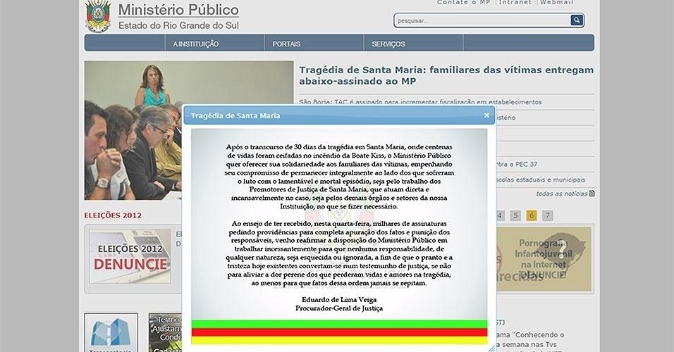 28.fev.2013 - Comunicado publicado no site do Ministério Público do Rio Grande do Sul reafirma o compromisso do órgão em