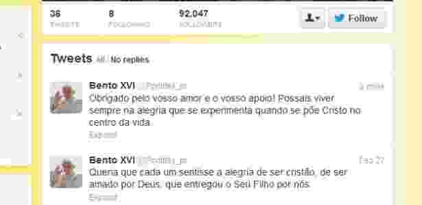 Papa emérito Bento 16 publica sua última mensagem no Twitter - Reprodução/Twitter