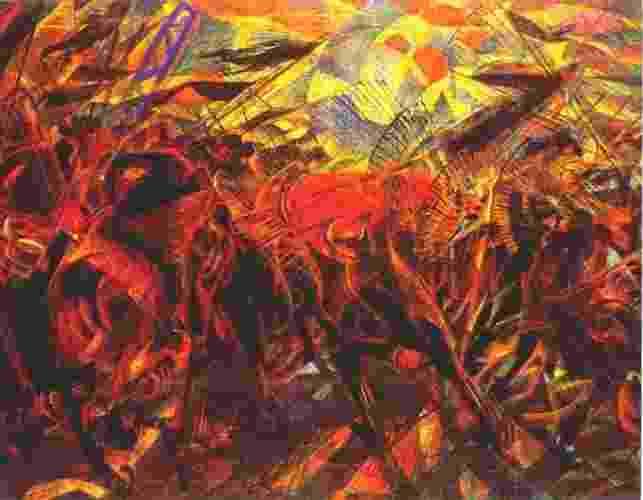 A pintura futurista de Carlo Carrà registra a tensão e as cenas de confronto do funeral do anarquista Galli, morto pela polícia italiana. Concebida como uma ideologia libertadora e individualista, o anarquismo tem inspirado movimentos sociais desde o século 19 e suas premissas ecoam até os nossos dias. No Brasil, a criação da Colônia Cecília em 1890 foi uma das primeiras experiências. - Reprodução