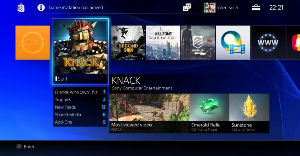 Arte mostra a tela inicial que é planejada para o PlayStation 4, lembrando o visual empregado atualmente na PlayStation Store