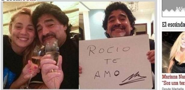 Casal Rocío Oliva e Diego Maradona. Moça não era nem nascida quando Maradona encantou o mundo na Copa de 1986