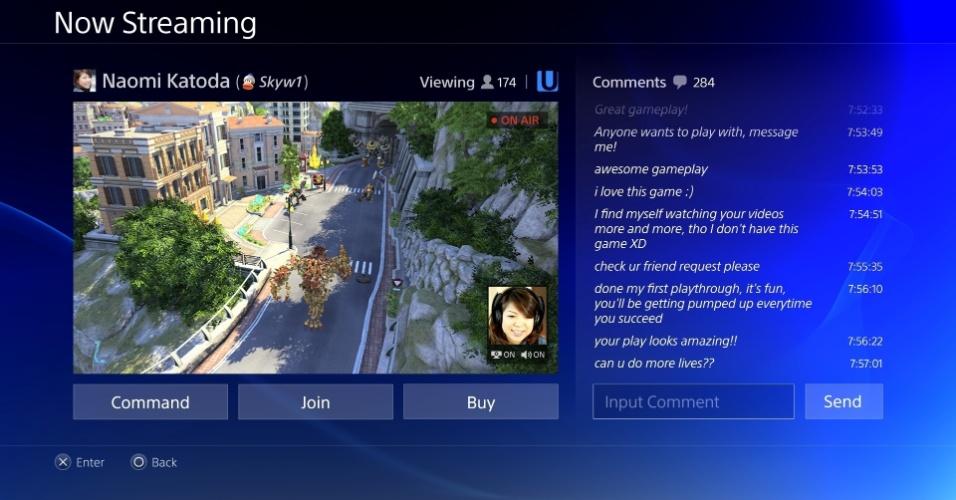 Interface mostra a integração dos usuários com o jogador que transmite a partida