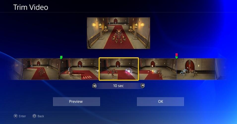 Opção para cortar os vídeos que serão compartilhados com o menu Share