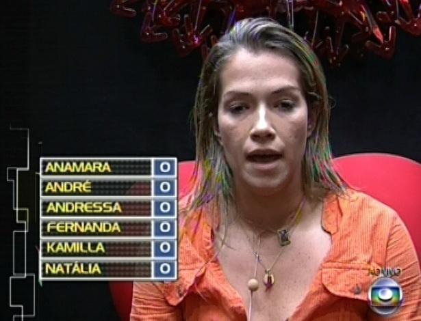 1º.mar.2013 - Fani foi a primeira a votar em Andressa e disse que não tinha motivo, que era apenas uma escala de afinidade