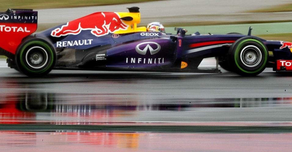 1.mar.2013 - Primeira sessão de treinos em Barcelona, que teve Sebastian Vettel, da Red Bull, foram mais uma vez marcados pela chuva