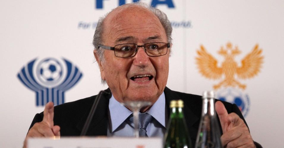 20.jan.2013 - Joseph Blatter, presidente da Fifa, discursa durante evento em São Petersburgo, na Rússia