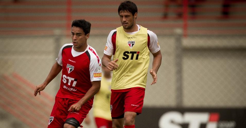 27-02-2013. Fabrício treina no São Paulo ao lado de Jadson