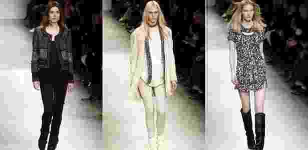 Modelos apresentam looks de Isabel Marant para o Inverno 2013 durante a semana de moda de Paris (01/03/2013) - Pierre Verdy/AFP