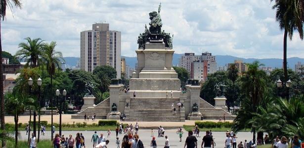 O Monumento da Independência, que abriga os restos mortais de D. Pedro e de suas duas esposas, no bairro do Ipiranga, na capital paulista