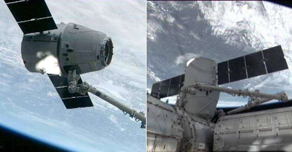 4.mar.2013 - A cápsula Dragon se acoplou neste domingo (3) à Estação Espacial Internacional (ISS, na sigla em inglês) levando 550 quilos de provisões (alimentos, materiais científicos e outros equipamentos), após superar um problema com seus propulsores, o que atrasou sua chegada à plataforma em um dia