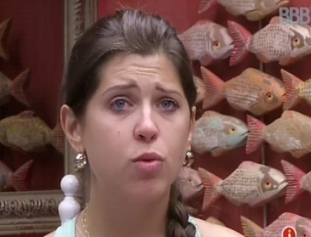 4.mar.2013 - Andressa diz a Fernanda que tem muito medo que Nasser saia da casa
