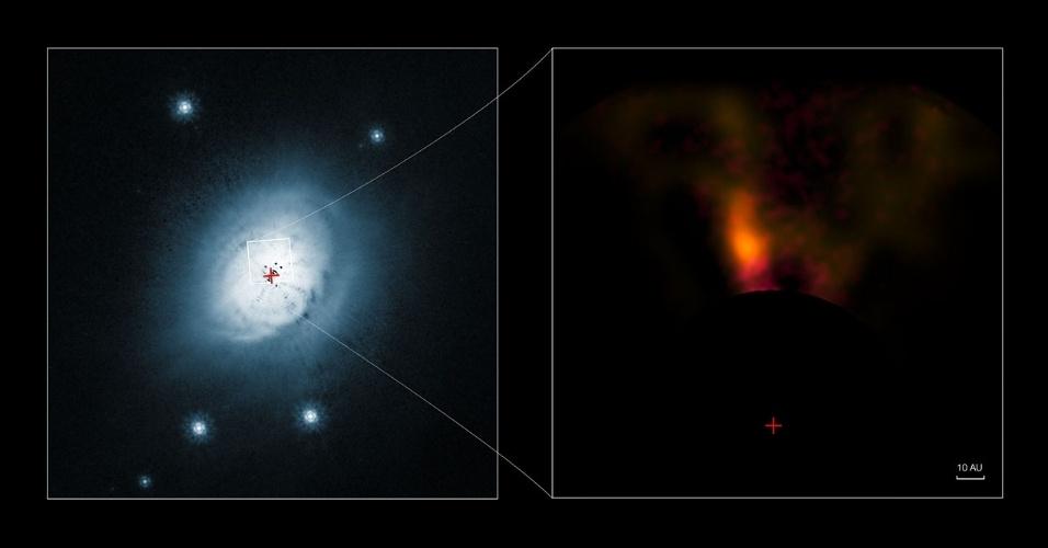 4.mar.2013 - O ESO (Observatório Europeu do Sul) divulgou as primeiras imagens do que parece ser um planeta em formação ao redor da estrela HD100546, a 335 anos-luz da Terra (quadro à esquerda) - anteriormente, os astrônomos haviam mostrado apenas uma composição artística. No quadro à direita, imagem feita pelo equipamento do VLT, considerado o telescópio óptico mais avançado do mundo, ocultou o brilho da estrela (abaixo) para captar detalhes do candidato a planeta (ponto laranja), que ainda está dentro do material que ronda a jovem estrela, um espesso disco feito de gás e poeira